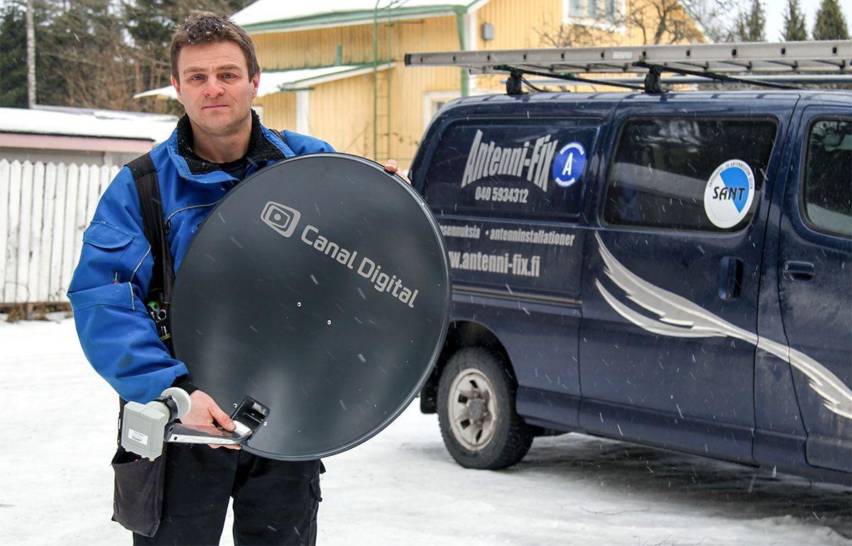 Antenni-Fixin Kenneth Åbergin mukaan pieni lumisade ei vaikuta satelliittikuvan laatuun.